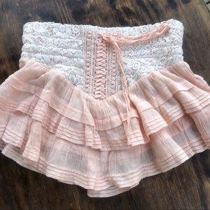 Free people peach peasant corset skirt